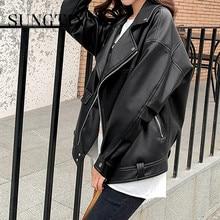 Sungtin blouson similicuir femme PU, ample, Streetwear femme, surdimensionné, coréen Chic, printemps