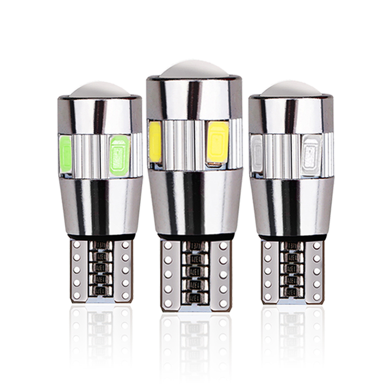 2x T10 W5W Car LED Signal Bulb CANBUS Interior Light 12V Super Bright Auto Turn Wedge Side Trunk License Plate Luggage Lamp 6SMD