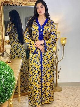 Moroccan Caftan Ethnic Floral Maxi Dress Women 2021 New Dubai Turkey Arabic Moroccan Kaftan Muslim Long Sleeve Abaya Jalabiat Yellow 1