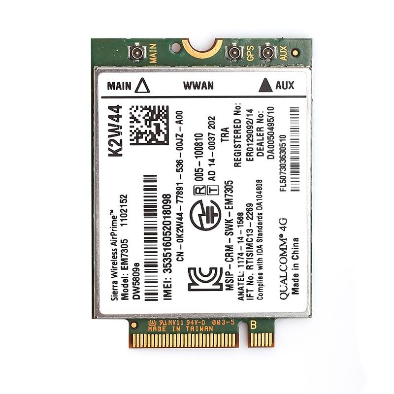 Dell DW5809e Sierra Wireless Airprime EM7305 4G LTE WWAN M.2 NGFF Card Module For Laptop Latitude 3340 E5250 E5450 E5550 E7250