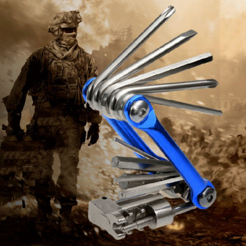 11 In 1 Multi Function Bicycle Mechanic Repair Tool Kit Pocket Chromium Plating Steel Durable Hardness Outdoor Cycling Riding|Bicycle Repair Tools| |  - title=