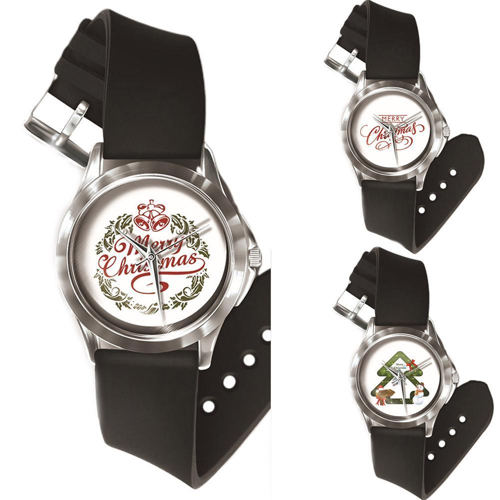 Christmas Wrist Watch Cool Letter Deer Print Couple Watch Fashion Unisex Round Dial Analog Quartz Reloj Mujer Relogio Feminino