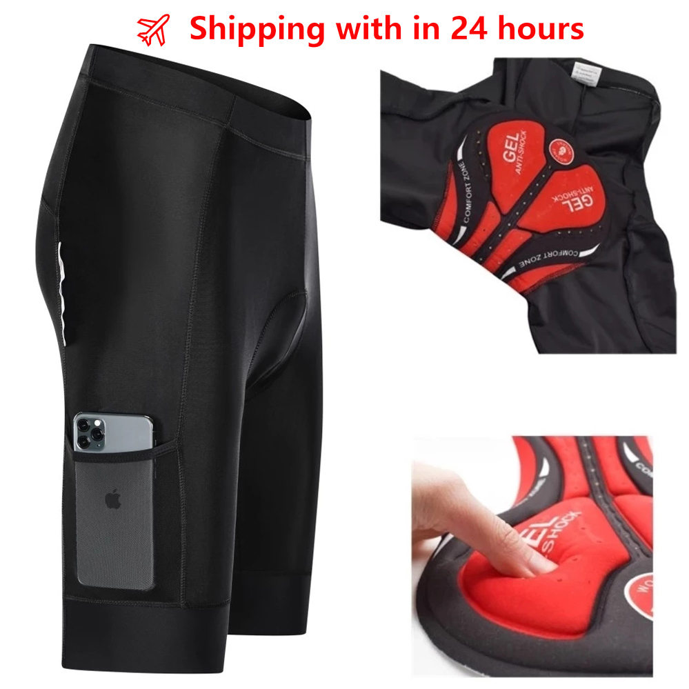New Reflective 5D Padded Cycling Shorts Shockproof MTB Bicycle Shorts Road Bike Shorts Ropa Ciclismo Tights For Men Women