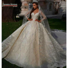 Stunning full beading long sleeves bridal wedding dress 2020 dubai