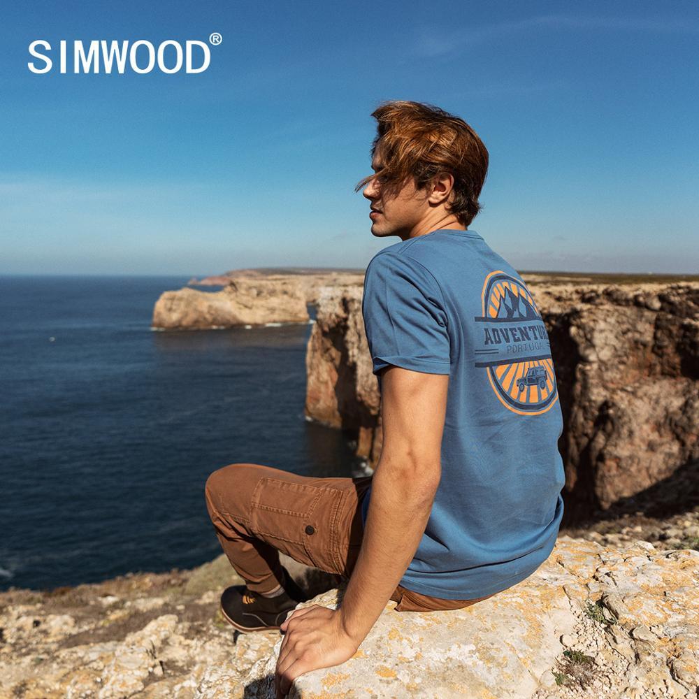 SIMWOOD 2020 Summer New T-shirt Men Back Logo Print Short Sleeve T Shirt Plus Size Fashion 100% Cotton Tops SJ120056