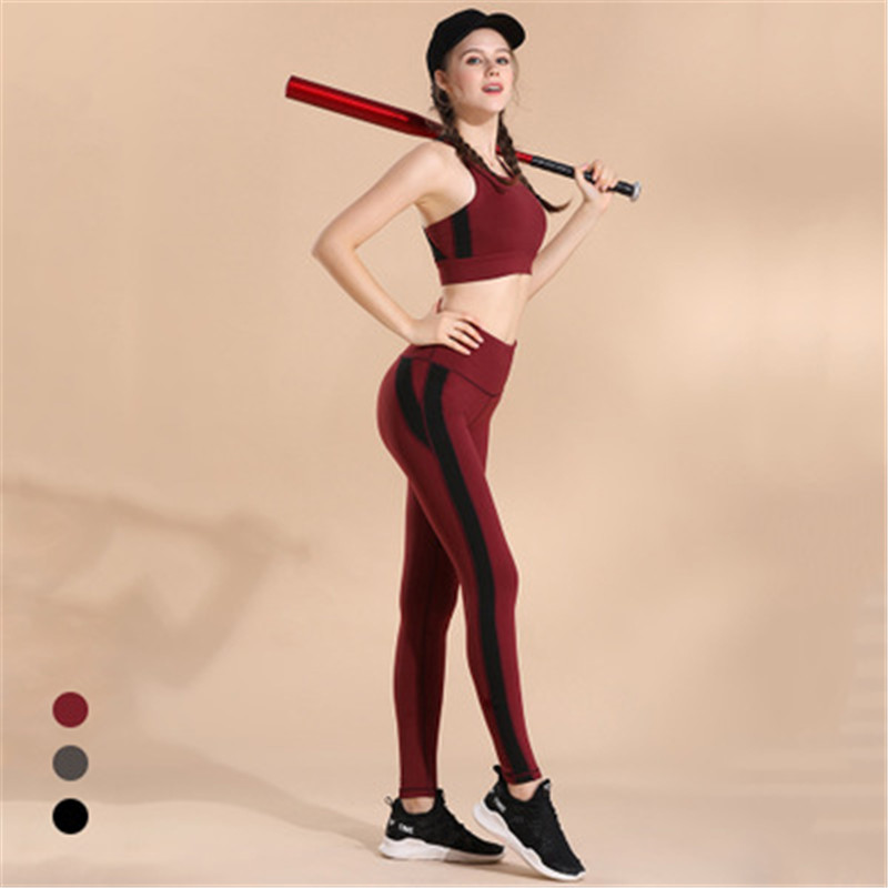 Galleria fotografica New Yoga Set Two-piece Set No Steel Ring Women's Stitching Sports Bra Shockproof Fitness Vest Quick-drying Stretch Tights