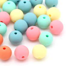 100Pcs Mixed Candy Colors Acrylic Spacer Beads Round DIY Jewelry Findings 9x10mm
