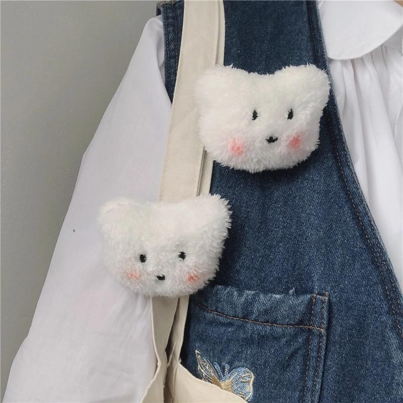 HUANZHI 2020 корейские симпатичные белые плюшевые броши в форме румян медведя для женщин мужчин парные повседневвечерние круглые прекрасные акс...