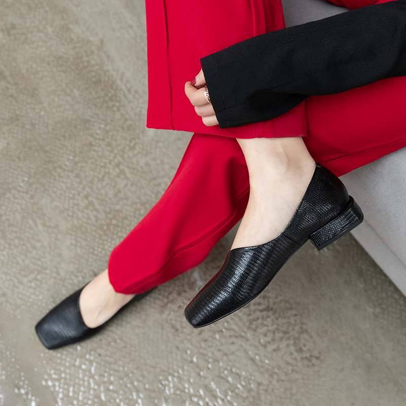 Krazing Pot Brand Genuine Leather Square Toe Low Heels Women Pumps Slip On Shallow Elegant Runway Concise Dress Spring Shoes L0x
