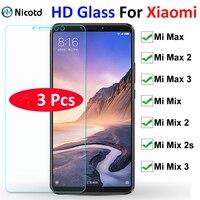 Protector de pantalla de vidrio templado para Xiaomi, Protector de pantalla de vidrio duro HD para Xiaomi Mi Max3 max 2 1 3 9H, Mi Mix Mix2 3 1 2s, 3 uds.