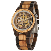 Classic Hollow Out Automatic self winding Mechanical Wooden Watch for Men Gold Roman Numerals Dial Wooden Wristwatch