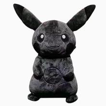 Pokemon 35Cm Fujiwara Hiroshi markowe ciemny czarny Pikachu figurki Anime Pp bawełna krótkie pluszowe zwierzęta zabawki prezent na boże narodzenie