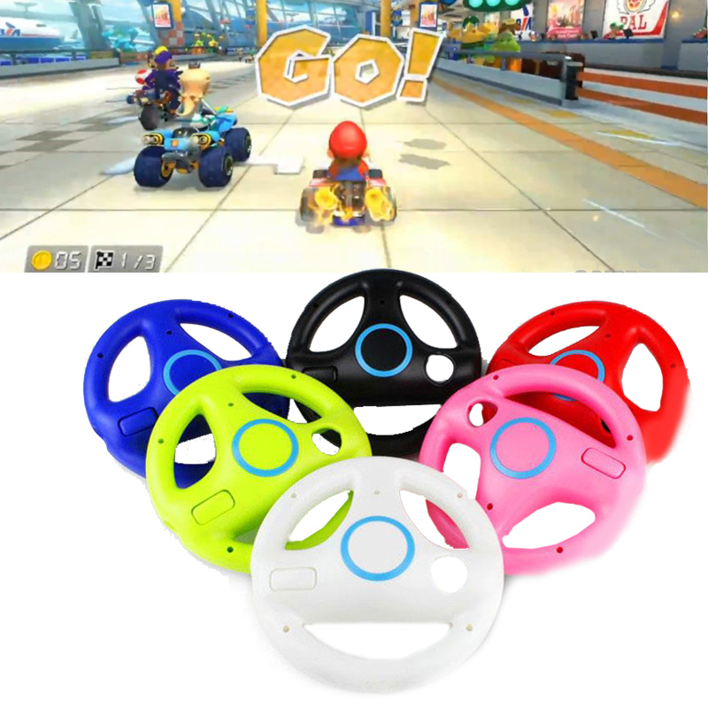 Cewaal 6 colors Racing Game Round Steering Wheel Remote Controller for Nintendo for Wii children Halloween Gift image