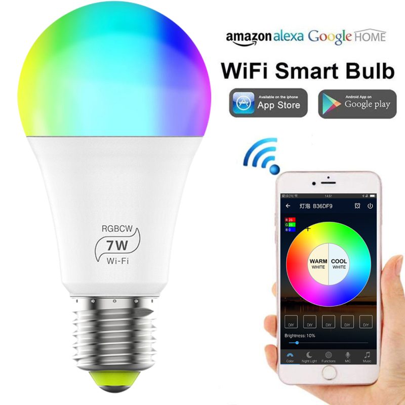 1/3/5pcs 7W E27 WiFi Smart Light Bulb,RGB 16Color Dimmable LED Bulb,voice&app control,Compatible with Alexa and Google Assistant
