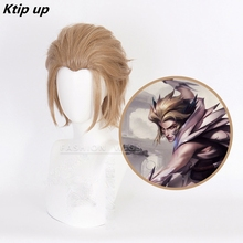 Ktip Up Game LOL Rakan Cosplay Costume Wig League Of Legends LOL Rakan The Charmer Skin Short Synthetic Hair Halloween Play Wigs the charmer