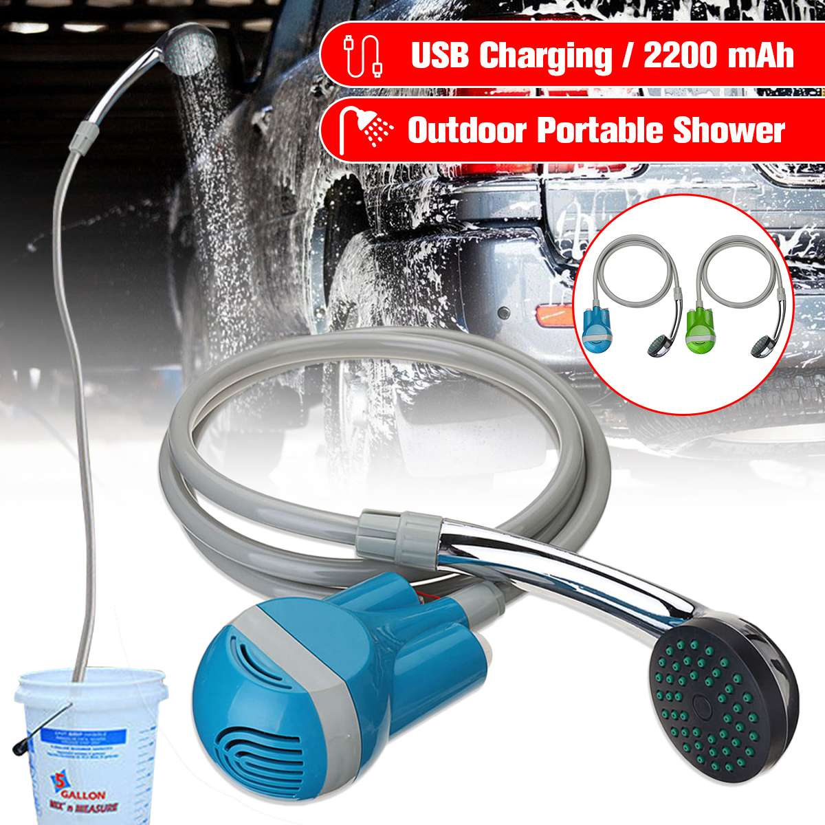 Portable Camping ShowerCar Washer 12V Wireless Car Shower DC 12V pump pressure shower Outdoor Travel Caravan Van Pet Water Tank title=