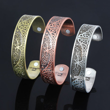3 Colors Tree of Life Bangles Bracelets Norse Viking Wicca Cuff Celtics Knot Magnetic Bracelet Bangle for Women Men Jewelry Gift my shape silver plated magnetic bracelets bangles for women viking cuff bangle engraved bracelet men jewelry