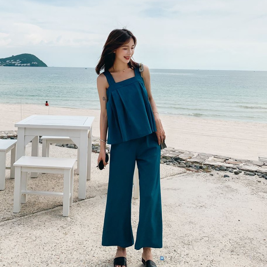 Photo Shoot CHIC Elegant Ol Peacock Blue Capri Loose Pants Sleeveless Camisole Scheming Backless Lace-up Casual WOMEN'S Suit