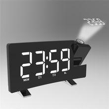 Reloj despertador de proyección de Radio FM, pantalla LED de 8 pulgadas, compatible con alarmas duales, función de repetición con puerto de carga USB, enchufe de la UE/EE. UU.