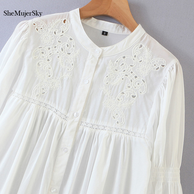 SheMujerSky White Embroidery Hollow Out Blouse Autumn O-neck Long Sleeve Tops 2020 Spliced Buttons Long Shirts blusas 5
