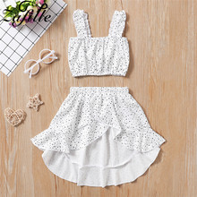 ZAFILLE Toddler Dress Girls Clothing White Top+Skirt Kids Outfits Sets Sleeveless Baby Girl Clothes Children 2020 Summer Suits wool teen kids clothing set autumn winter children clothing set sleeveless dress cape coats 2 pcs clothes suits girl outfits