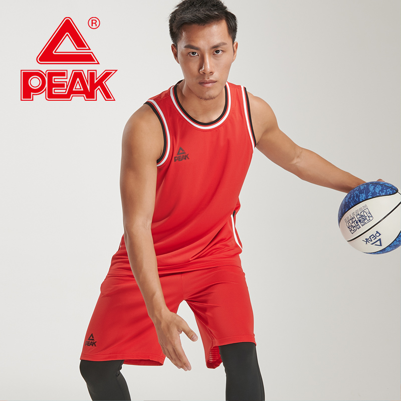 PEAK Men Basketball Competition Suits Breathable Quick-Drying Competition Sets 2 Pieces Polyester Vest + Shorts PEAK Sportswear
