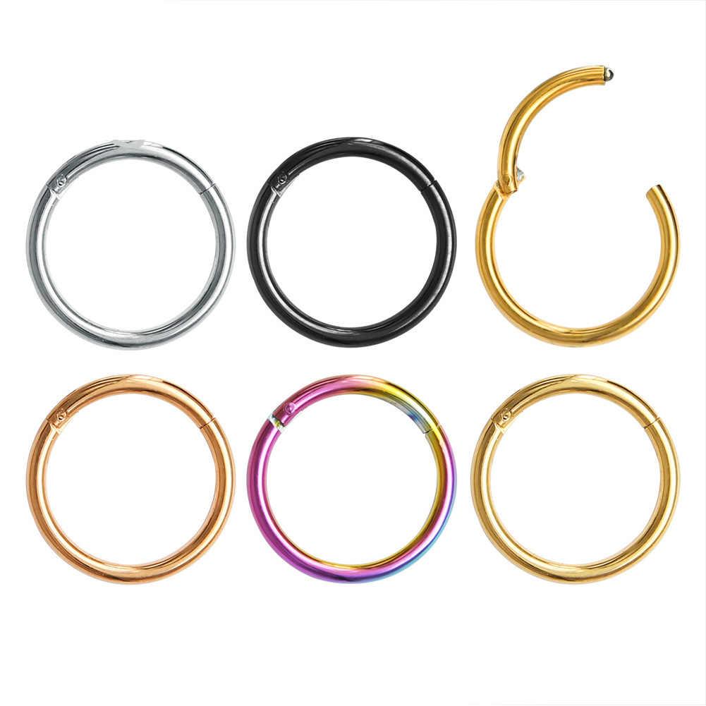 G23 TITANIUM GOLD สี Septum แหวนเปิดขนาดเล็กเจาะรูจมูกต่างหูผู้หญิงหูจมูกเจาะเครื่องประดับ