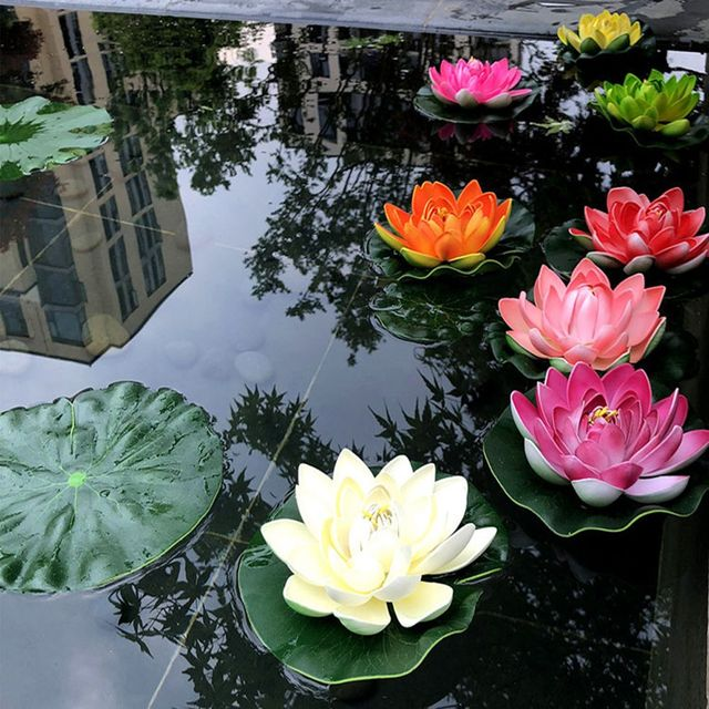 3 Pcs Floating Lotus Mixed Color Artificial Flower Lifelike Water Lily Micro Landscape for Wedding Pond Garden Fake Plants Decor 4