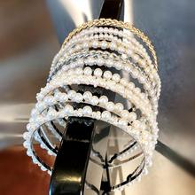 Neue Frauen Elegante Voll Perlen Einfache Haarbänder Süße Stirnband Haar Hoops Halter Ornament Kopf Band Dame Mode Haar Zubehör cheap CN (Herkunft) Acrylsauer WOMEN Erwachsene Haarbrötchen GEOMETRIC scrunchie hair accessories scrunchy