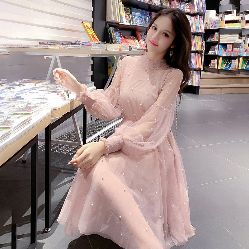 2019 Spring Long Lantern Sleeve Bead Work Pimk Mesh Dresses Women Sweet A-line Bling Bling Shiny Mesh Dresses