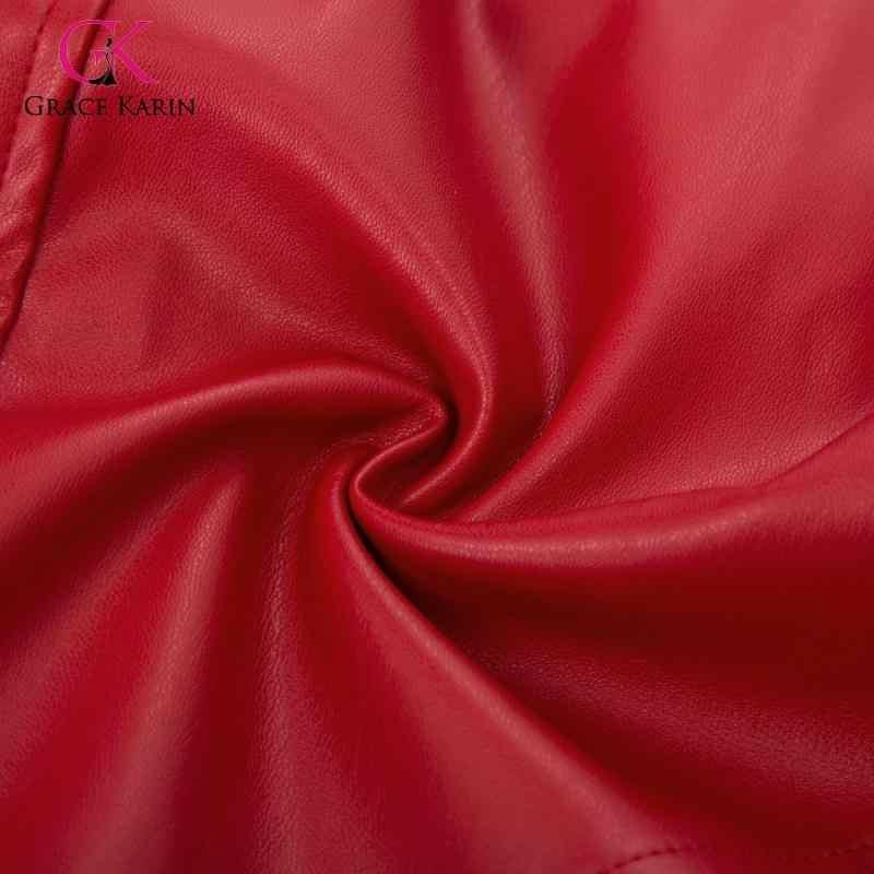 Grace Karin femmes PU cuir jupe crayon rouge/noir Faux cuir asymétrique jupes bureau dame genou longueur moulante Midi jupe