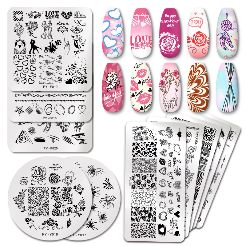 PICT You Nail Stamping Plates Valentine's Day Nail Art Plate Stencil Flower Geometry Stamping Template Stainless Steel Tool