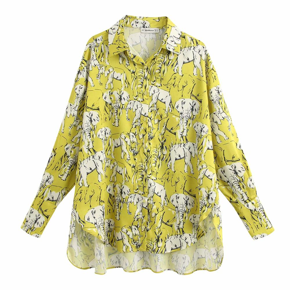 Women Ink Elephant Print Casual Loose Smock Blouse Women Long Sleeve Oversize Chic Chemise Femininas Kimono Shirts Tops LS6369