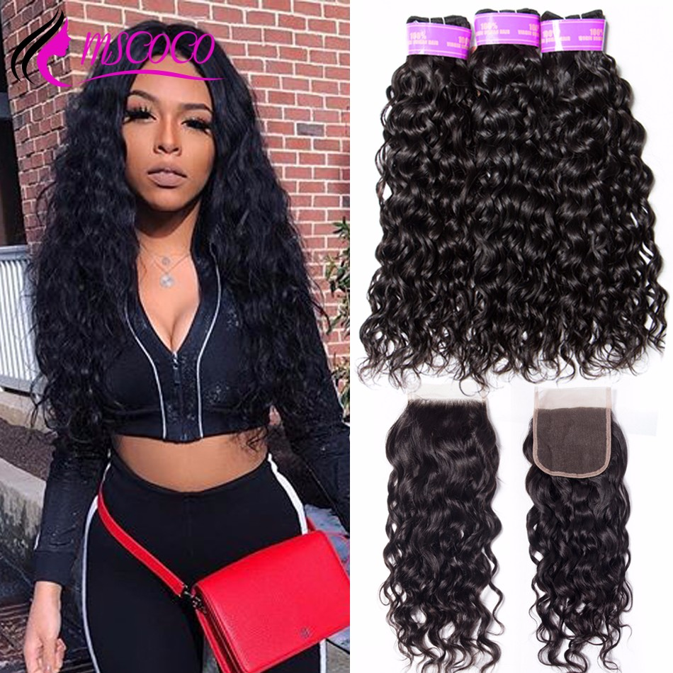 Mscoco Water-Wave-Bundles Closure Weave Human-Hair Brazilian with Remy 3-bundles/6x6/5x5 title=