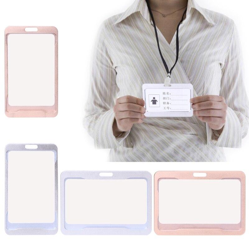 Nouveau porte-Badge d'identification de carte de travail en alliage d'aluminium Type Vertical Horizontal M5TE