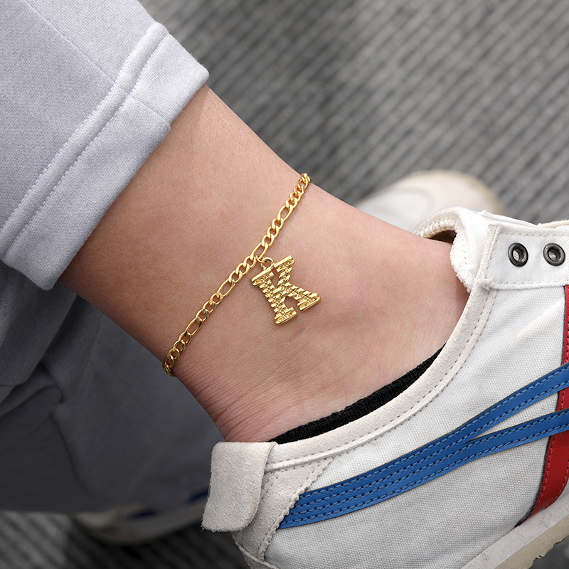 A-Z Alphabet Letter Initial Anklets For Women Gold Color Stainless Steel Leg Chain Female Ankle Bracelet Fashion Foot Jewelry