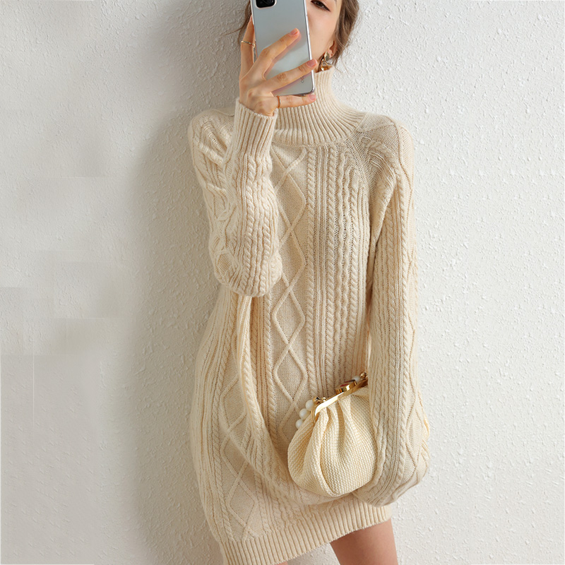 Turtleneck Knit Wool Cashmere Sweater Women Winter Pullover Europe United State Top So Bag Hip Sweater Long Sleeve Women Sweater