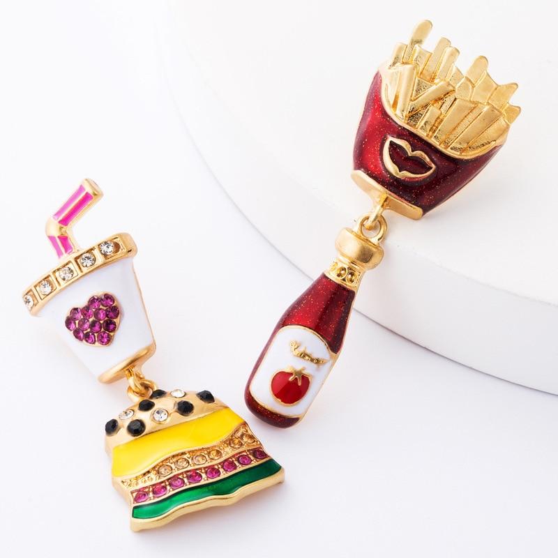 Kpop Fashion Unique Burger Fries Earrings Women Creative Fun Food Ear Accessories