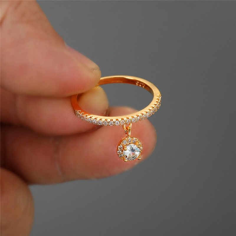 かわいい女性の小さなラウンドジルコン石リング 925 シルバーブライダル婚約指輪ヴィンテージの結婚指輪
