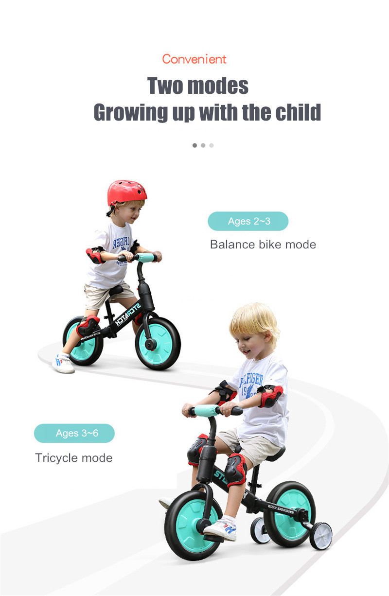 Hb715c0e7bbb44bf6afa80b4c502964ack Multifunction 2 in 1 Kids Tricycle + Balance Bike Bicycle For 2~6 Ages Child Toddler Complete Cycling Bike Learn to Ride