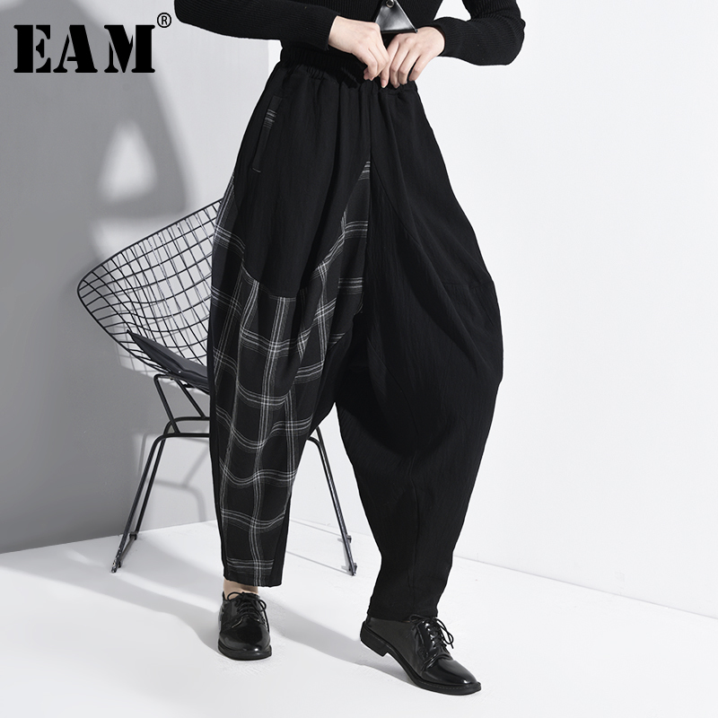 [EAM] High Elastic Waist Black Plaid Split Long Harem Trousers New Loose Fit Pants Women Fashion Tide Spring Autumn 2020 1K02301