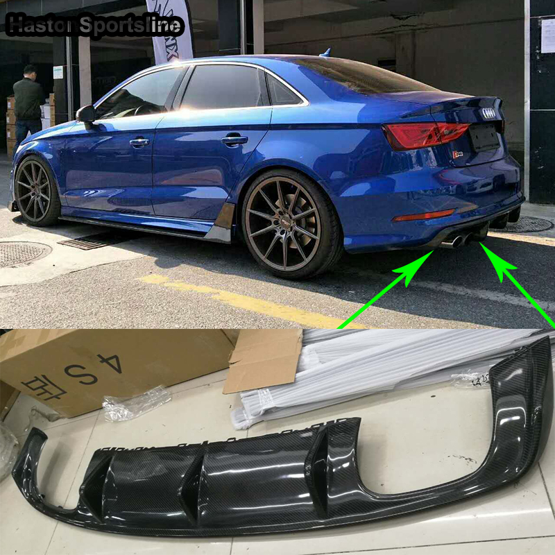 <font><b>A3</b></font> 8V S3 SLine Haston Style Carbon Fiber <font><b>Rear</b></font> Bumper Lip <font><b>Diffuser</b></font> for <font><b>Audi</b></font> <font><b>A3</b></font> Sline S3 Sedan 2013-<font><b>2016</b></font> (Not fit standard <font><b>A3</b></font>) image