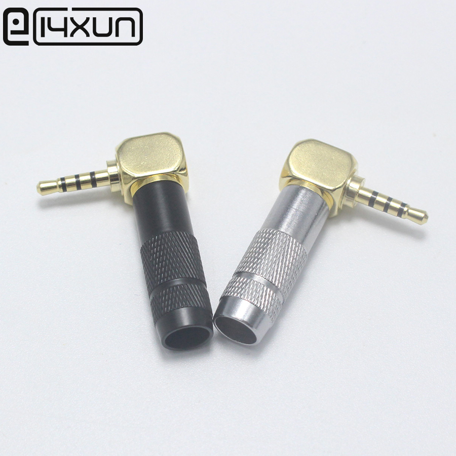 EClyxun 1/4pcs <font><b>2.5mm</b></font> 4 Pole <font><b>TRRS</b></font> Male <font><b>Plug</b></font> Jack Gold Plated 90 Degree Angle Audio Connector Silver Black New Arrival Connector image