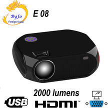 ByJoTeCH NEW LED projector E08 1080P 2000 Lumens Home Theater HDMI VGA Proyector Beame Multimedia WIFI Android version optional
