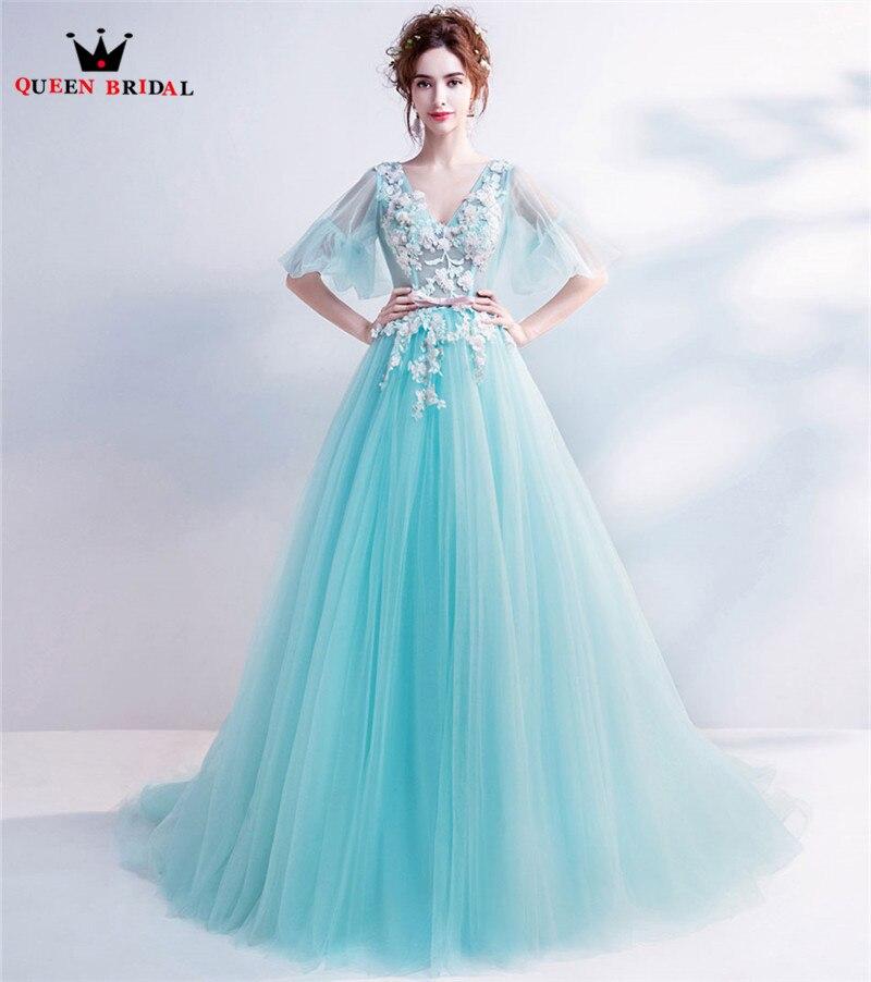 スカイブルー A ライン V ネックチュール花レースアップリケイブニングドレスエレガントなロングフォーマルウエディングイブニングドレス LS29M  グループ上の ウェディング & イベント からの イブニングドレス の中 1