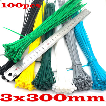 electrical cable ties 100pcs 3x300mm Assorted Self-locking Nylon Cable Ties Black Plastic Zip Tie 5x250mm self locking nylon cable zip ties 100pcs plastic cable zip tie approved loop wrap bundle ties black