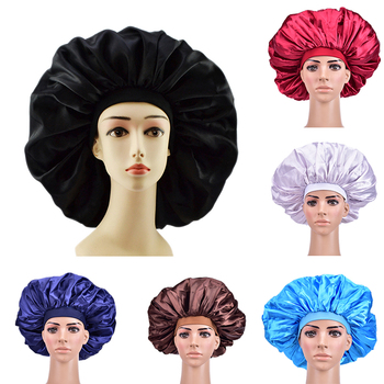 Extra Large Satin Sleep Cap High Quality Waterproof Shower Cap Protect Hair Women Hair Treatment Hat 6 Colors 1