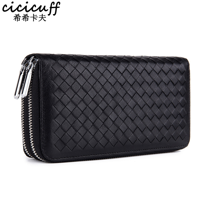 CICICUFF Lady Wallet Genuine Leather Double Zipper Long Clutch Bag Sheep Leather RFID Anti-theft Brush Phone Wrist Bag Handbag