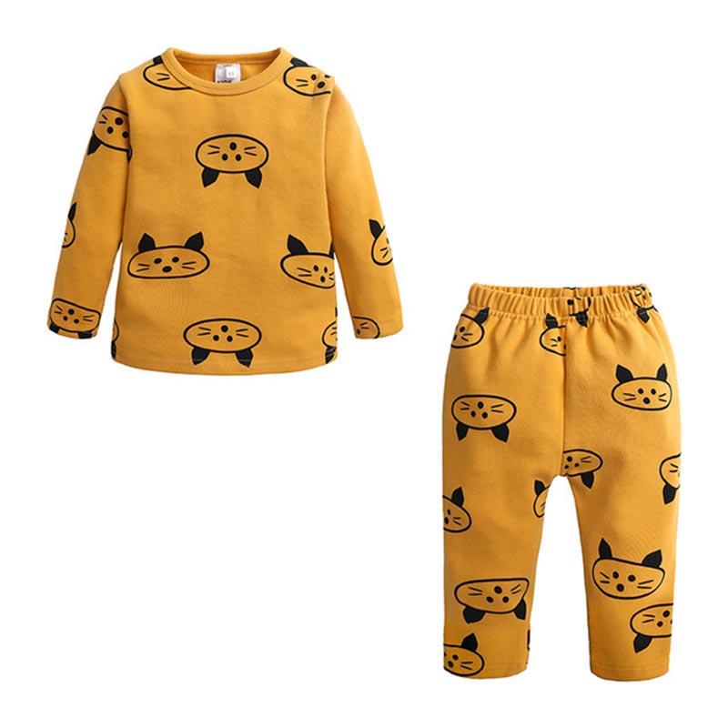 Spring Autumn New Knitted Cotton Homewear Suit Cute Printed 4 Colos 2PCS Girl Boy Long Sleeve Top Trousers Casual Pajama Outfit 2