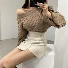 Сексуальный свитер с открытыми плечами женский осенне зимний